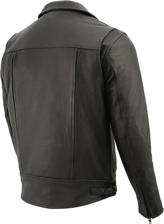 Milwaukee Leather Mens Double Side Utility Pistol Pete Jacket Black, 4X-Large