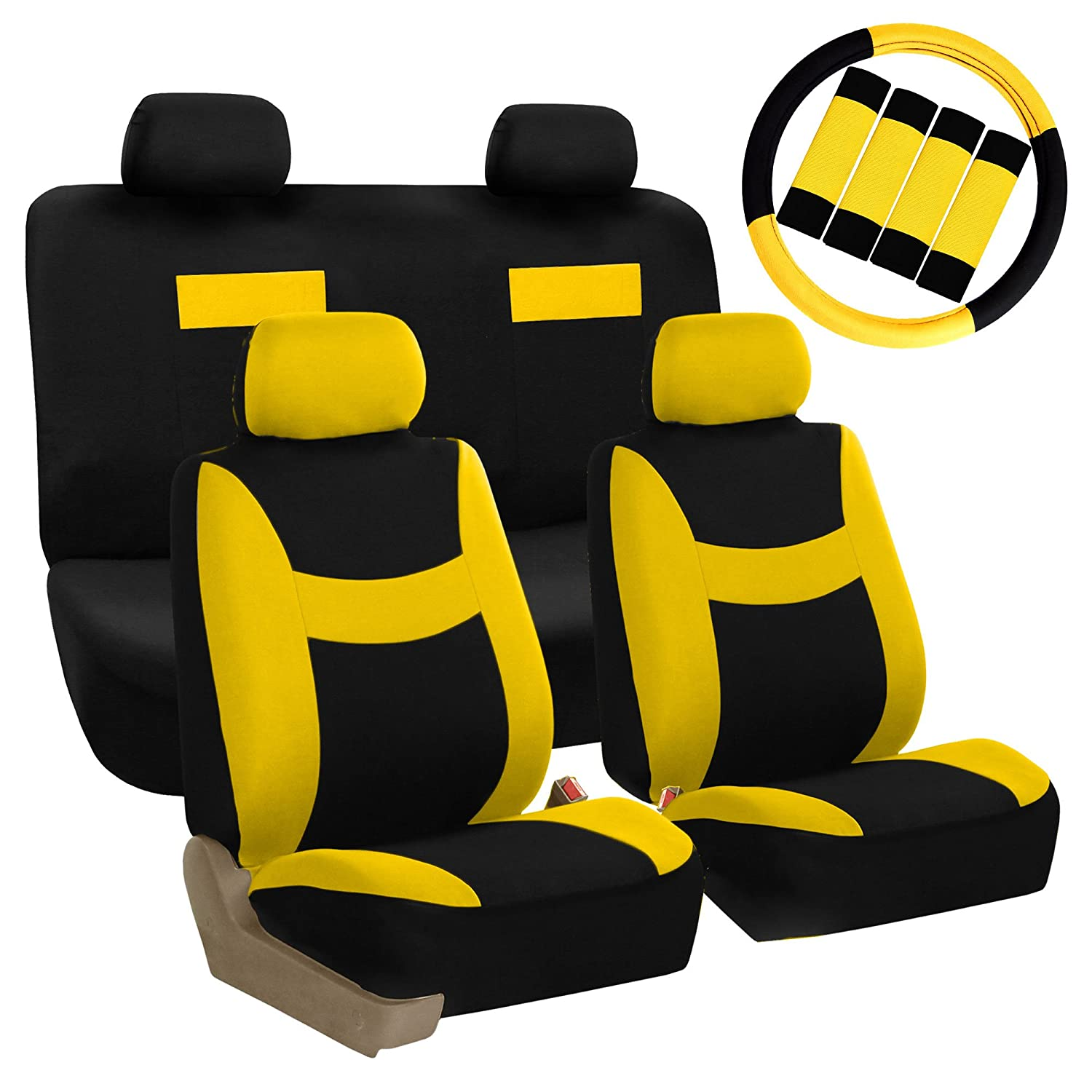 Amazon FH GROUP FB038114 Stylish Cloth Full Set Car Seat Covers Combo FH2033 Steering Wheel Belt Pads Yellow Black Fit Most Truck