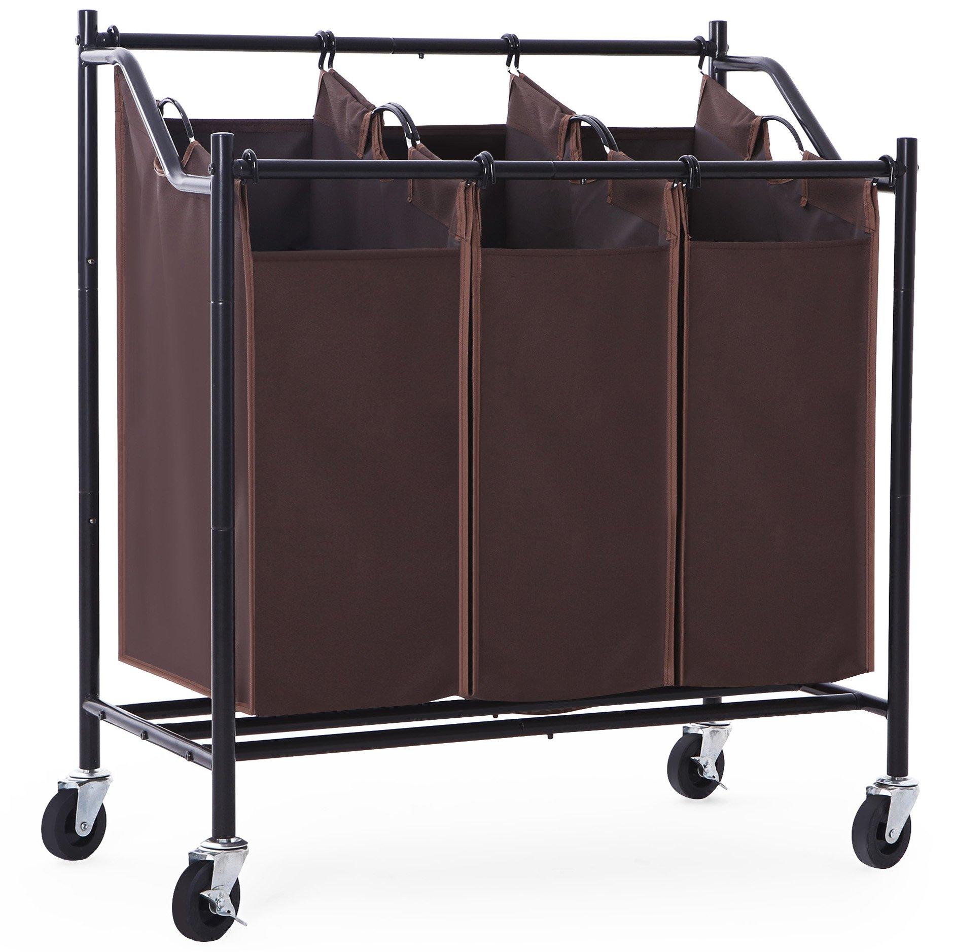 SONGMICS 3-Bag Laundry Sorter with Wheels Heavy Duty ...
