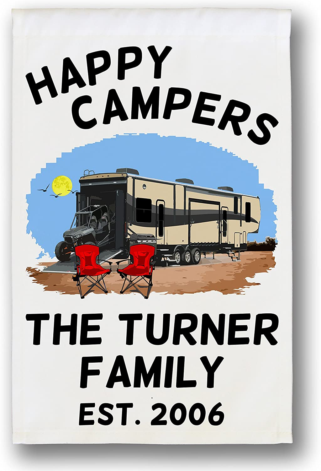 RV Decor 5th Wheel Camper Happy Campers Camper Decor Towed Towable RV Camper Custom Last Name Dinghy Family Name