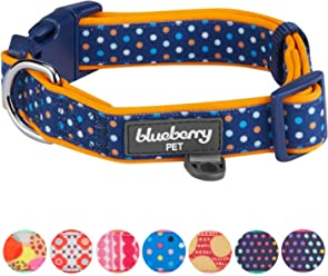 Blueberry Pet Soft & Comfortable Polka Dots, Diamond, Houndstooth Pattern Dog Collar