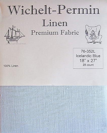Wichelt Permin PREMIUM LINEN FABRIC 28 Ct Cross Stitch 18 x 27 ICELANDIC BLUE