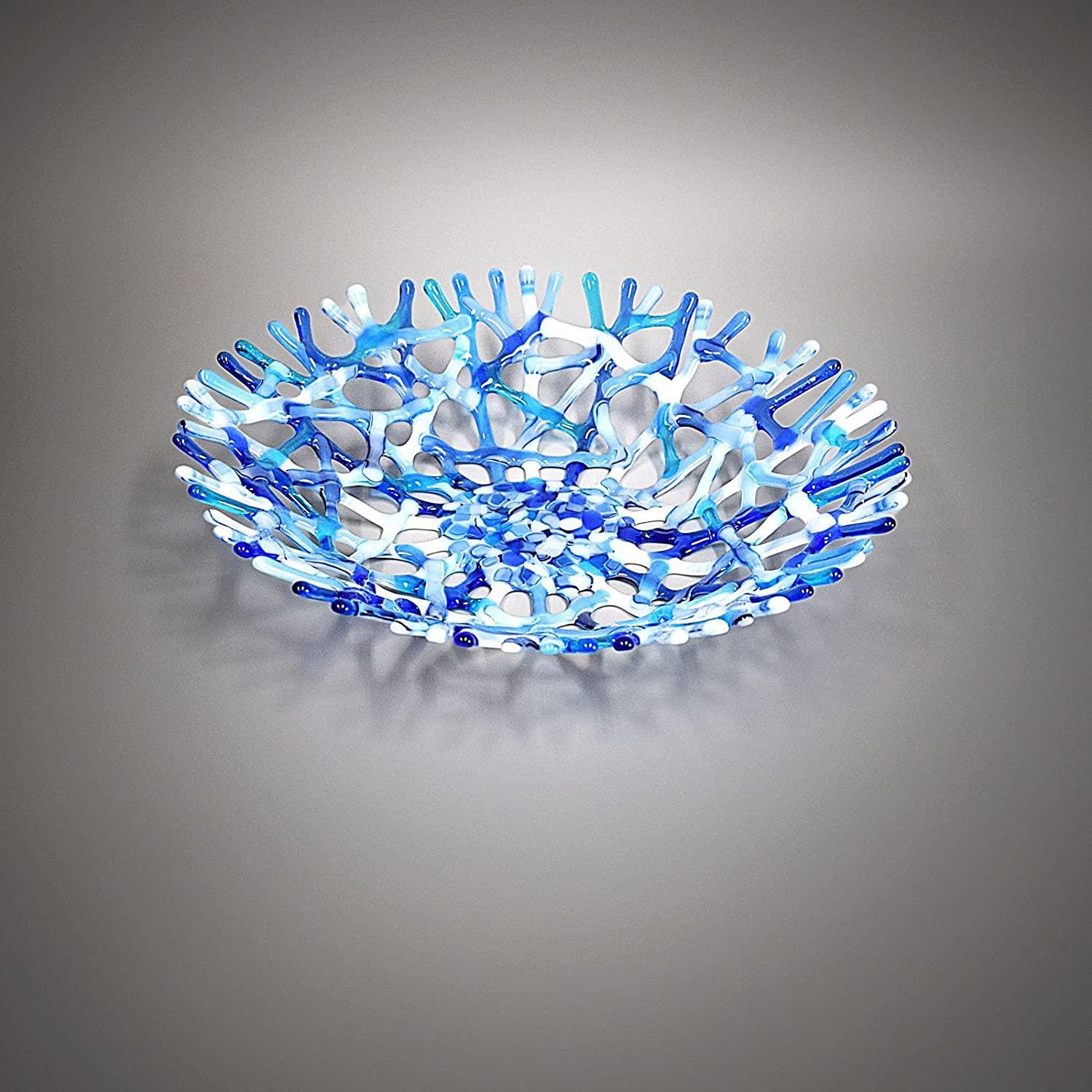 Lacy Glass Art Sea Coral Decorative Fruit Bowl in Soft Gray Blue and White