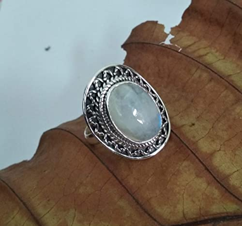 Natural Rainbow Moonstone Ring,925 Sterling Silver Ring,Handmade Ring,Blue Flash Rainbow Moonstone Jewelry,Oval Gemstone Ring amazing Rings