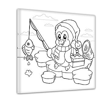 Bilderdepot24 Pinguin Auf Der Eisscholle Ausmalbild Auf Leinwand