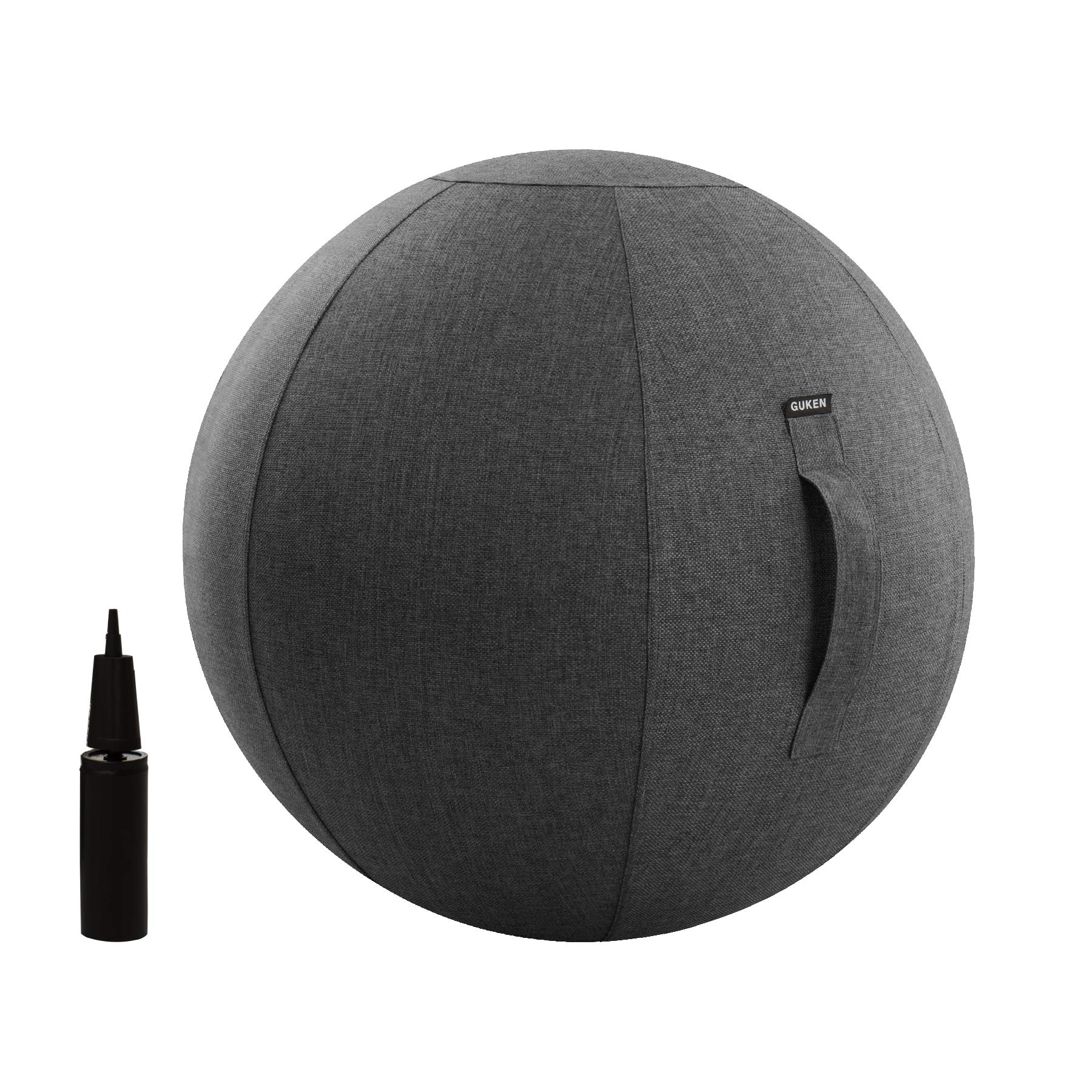 Exercise Ball (65cm Gray) Extra Thick Yoga Ball Chair,Yoga Ball Cover Anti-Burst Heavy Duty Stability Ball Supports 2200lbs, Fitness and Birthing Ball with Inflator and Handle(Office & Home & Gym) by Guken
