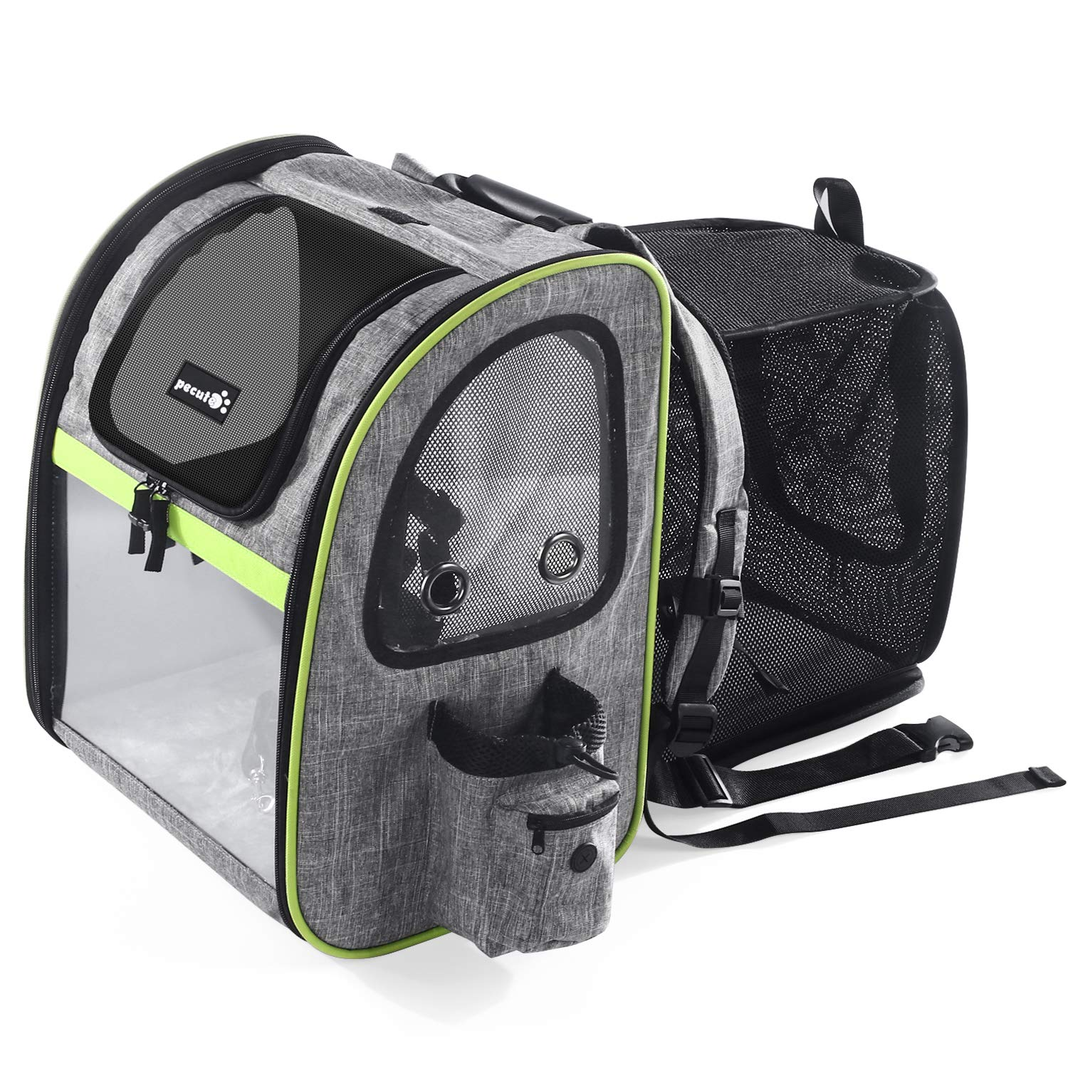 Pecute Dog Carrier Backpack Pet Backpack with Ventilated Breathable Mesh Portable Pet Expandable Bag for Puppy Dogs and Cats, Easy-Fit for Traveling Hiking Camping, Gray (Maximum Load 20 Lbs) by Pecute