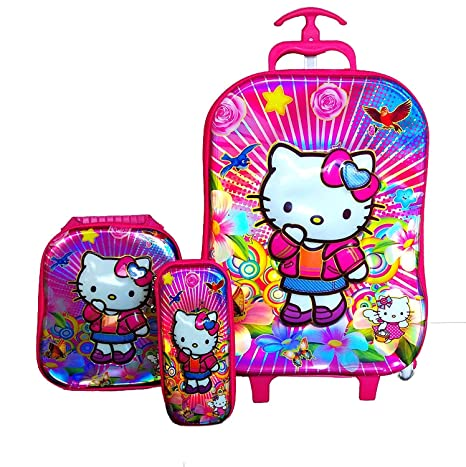 381f5387b Buy Kuresh Toy Hello Kitty Hardshell 6 Wheels Travel and Expandable Zip  Trolley Luggage Suitcase Bag Online at Low Prices in India - Amazon.in