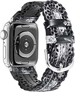 Secbolt Leather Bands Compatible with Apple Watch Band 38mm 40mm iWatch SE Series 6 5 4 3 2 1, Breathable Chic Lace Leather Strap for Women, Black/Grey Floral