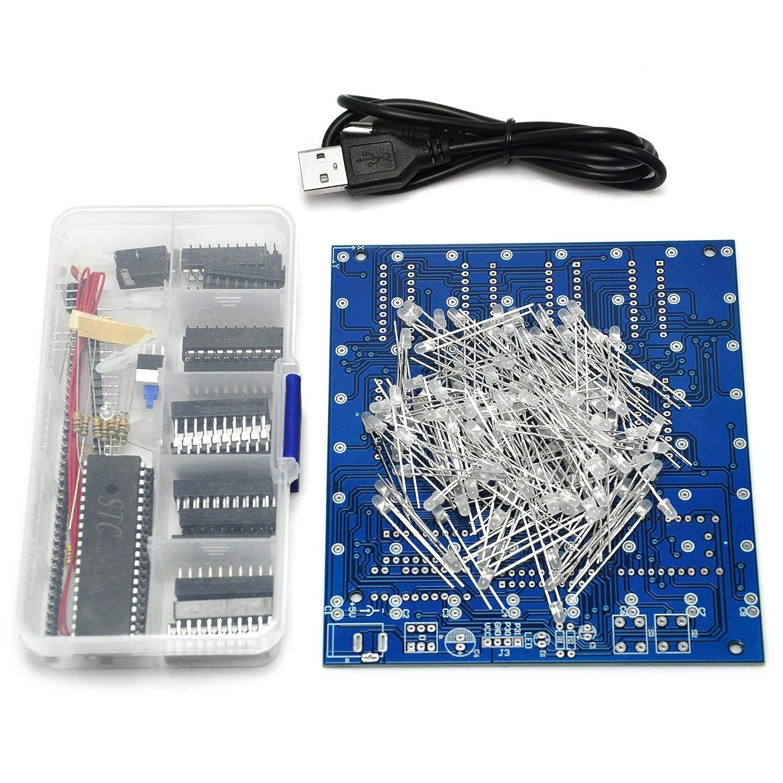 amazoncom gikfun 3d lightsquared diy kit 8x8x8 3mm led cube white