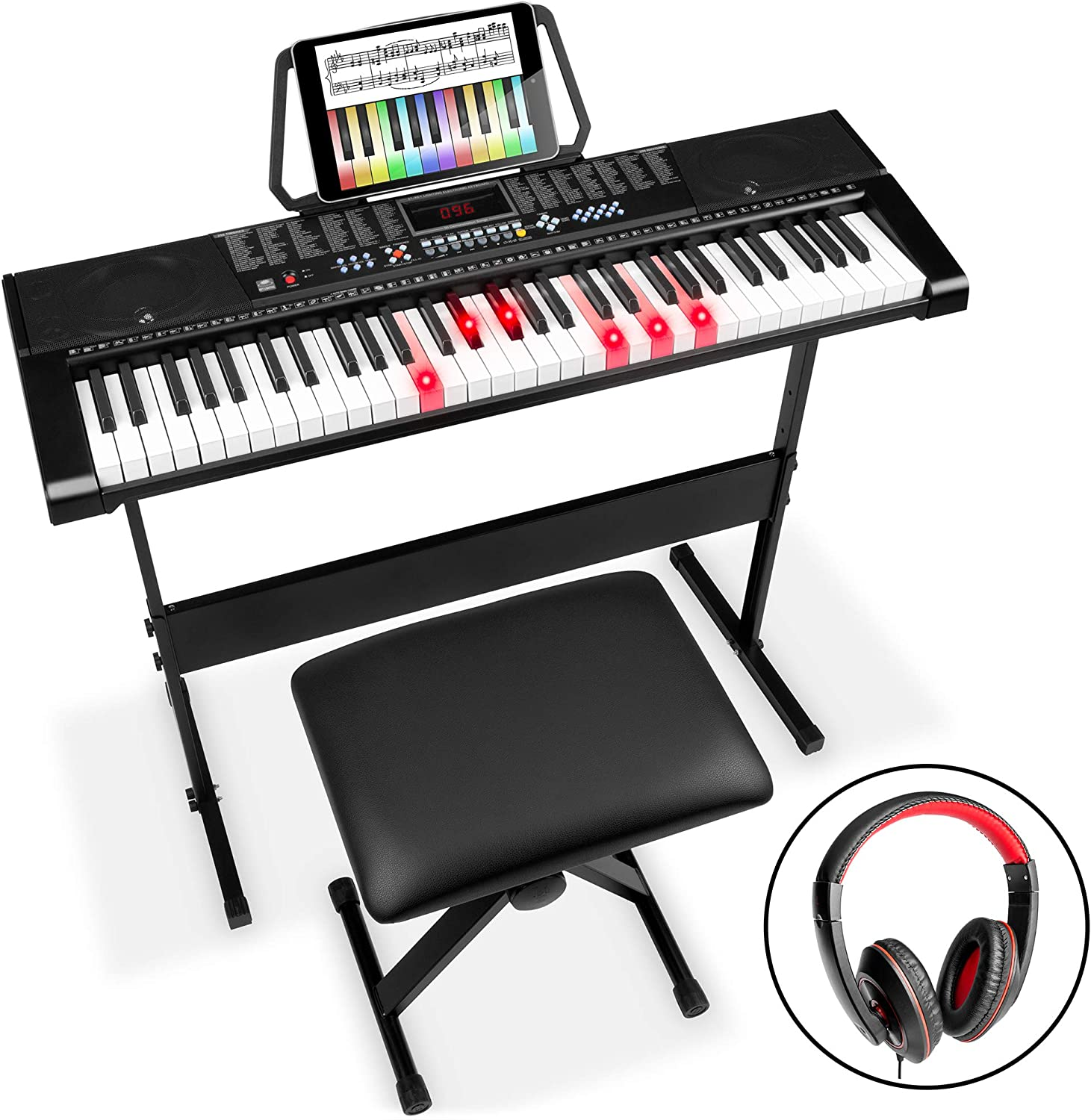 Best Choice Products 61-Key Beginners Electronic Keyboard Piano Set with Lighted Keyboards
