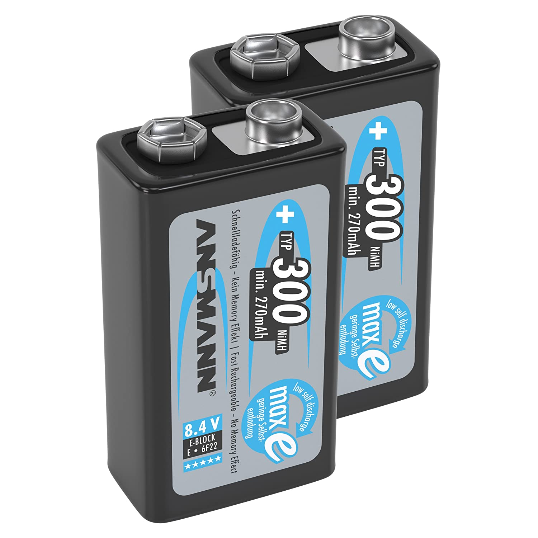 precargadas Ansmann maxE bater/ías de Bloque de 9/V Tipo 300/ de Baja autodescarga m/ín. 270/mAh