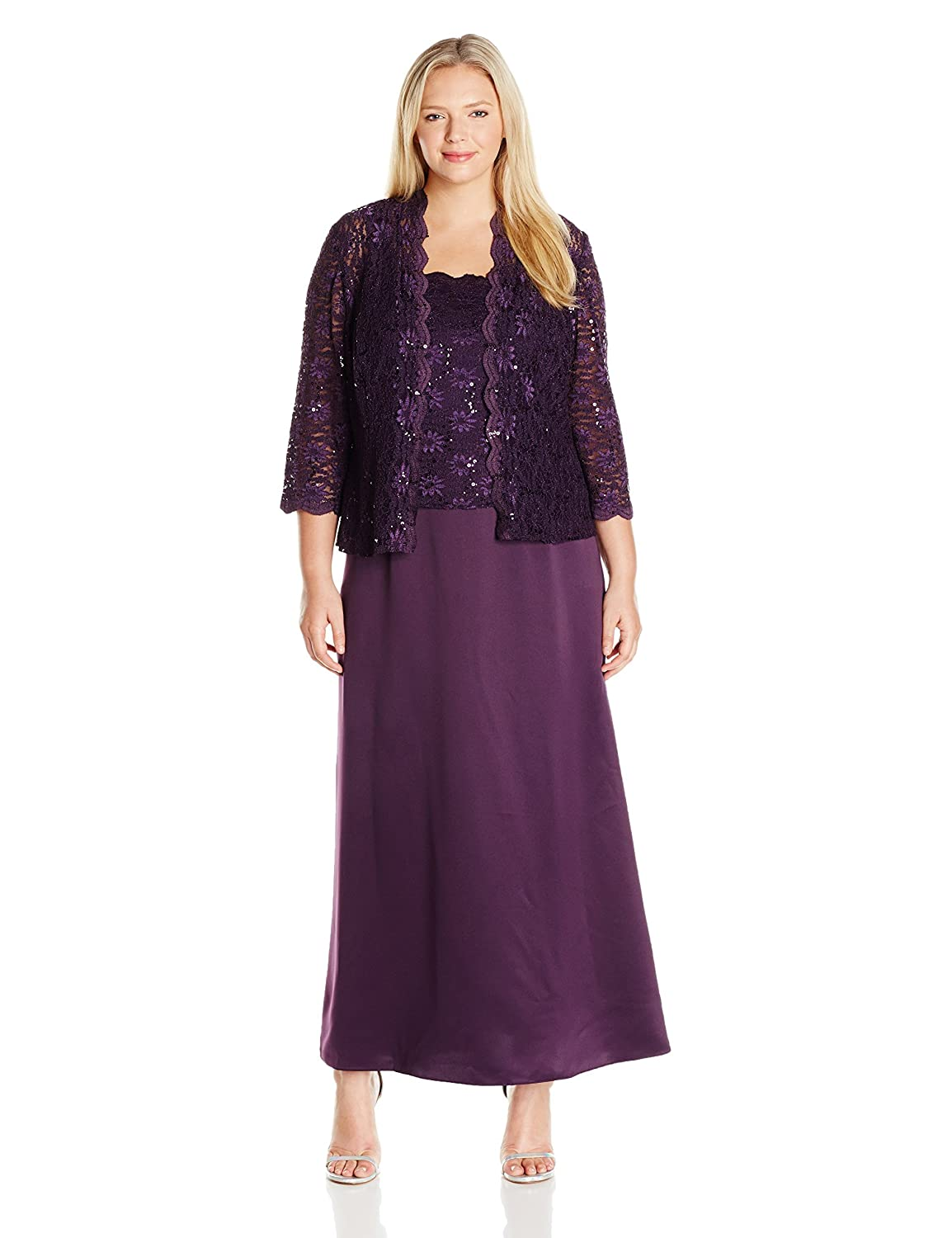 Alex Evenings Womens Plus-Size Long A-Line with and Scallop//Sequin Detail