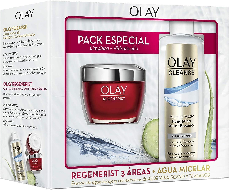 Olay Pack Regenerist 3 Áreas Crema Hidratante Día + Cleanse Agua ...