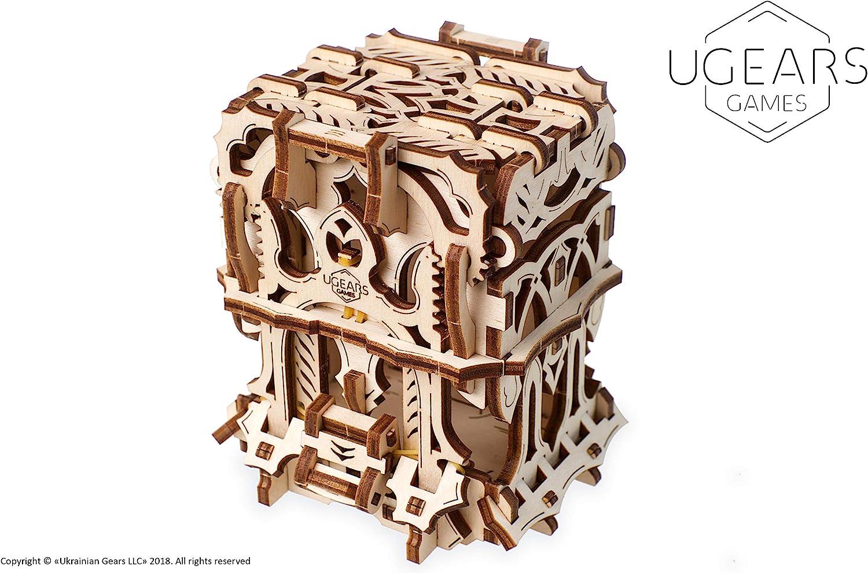 UGEARS Modelo Mecánico Puzzle 3D - Caja para Mazos Barajas de Cartas Tarjetas de Juego de Mesa - Deck Box Estuche Funda de Transporte de Madera para 120 Naipes - Maquetas para