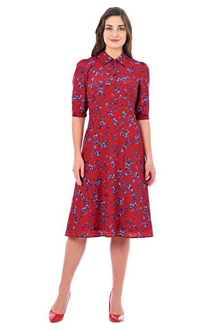 1940s Style Dresses | 40s Dress, Swing Dress eShakti Womens Heart Print Crepe shirtdress $59.95 AT vintagedancer.com