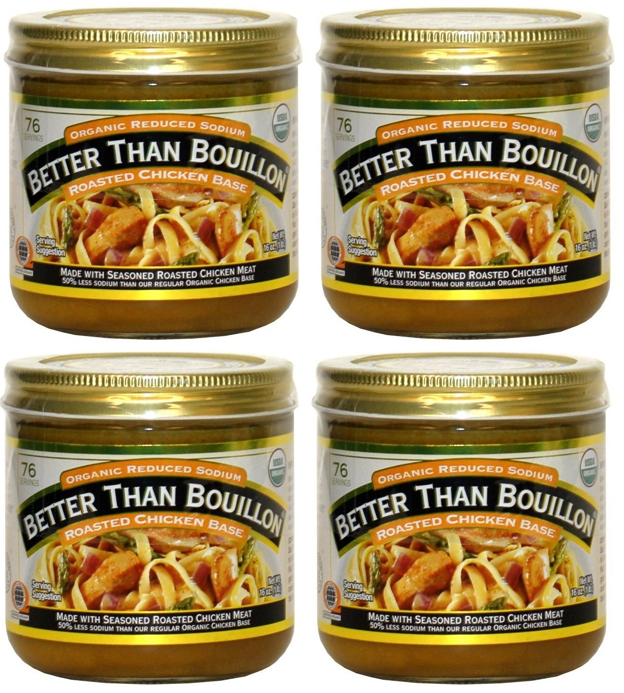 Better Than Bouillon Organic Roasted Chicken Base, Reduced Sodium - 4Pack (16 oz Each)