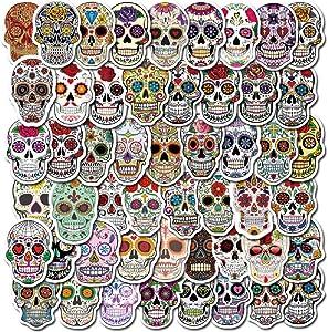 GUGELIVES 50pcs Graffiti Skull Personalized Computers Laptop Stickers Skull Head DIY Vinyl Sticker for Skateboard Graffiti Decals for Helmet Luggage Skull Stickers