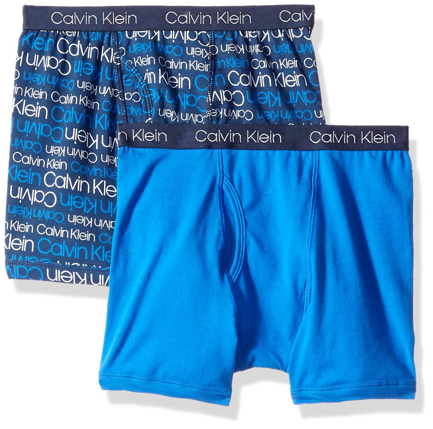 dcbef960ace Calvin Klein Little Boy's Kids Modern Cotton Assorted Boxer Briefs  Underwear, Multipack, 2 Pack-CK Logo Print Iris, Victoria Blue, X-Small /  4-5