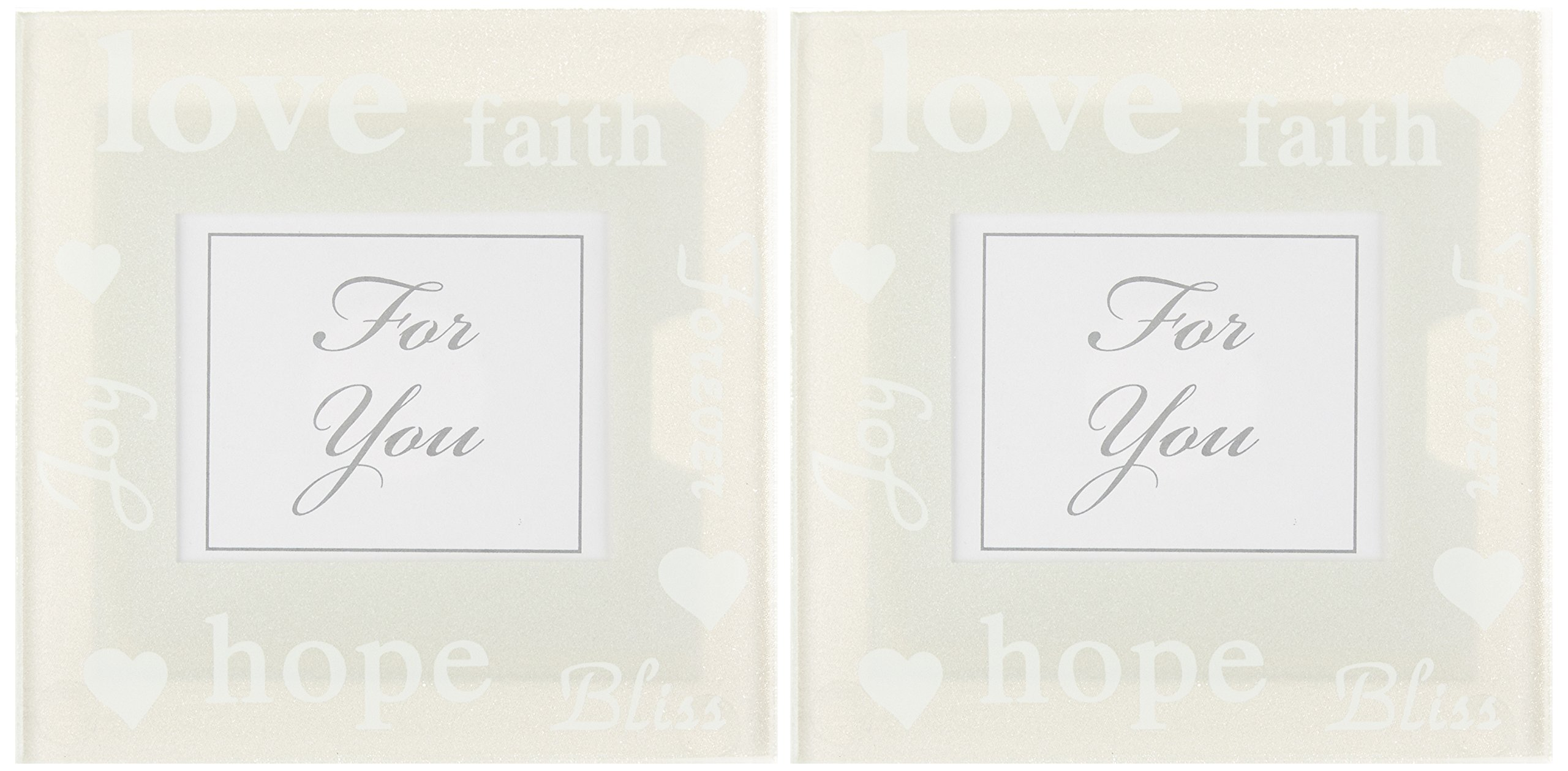 Kate Aspen Good Wishes Pearlized Glass Photo Coasters