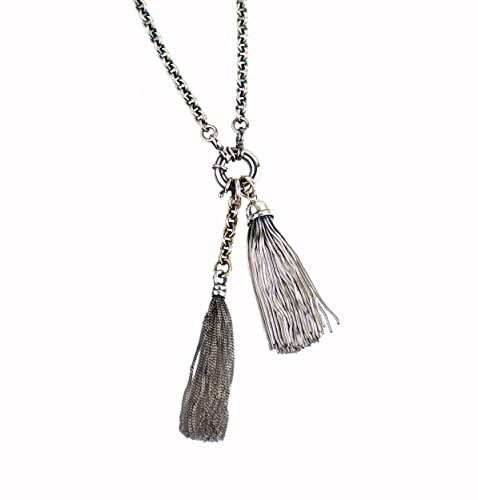 Chain Tassel Vintage Jewelry Vintage Black And Silver Necklace