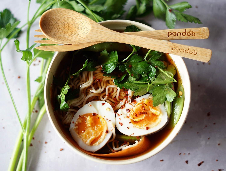 pandoo Lot DE 6 Bols en Bambou sans BPA et Usage Alimentaire Pique-Nique /& Camping