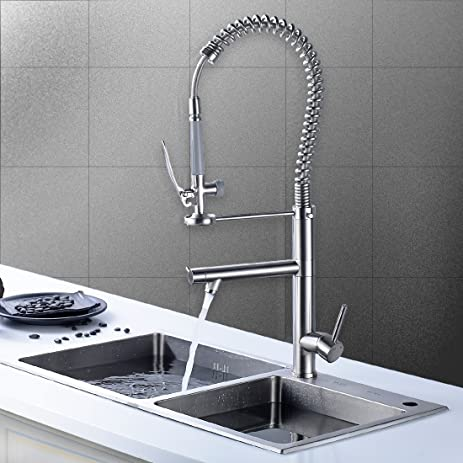 FLG Commercial Pre Rinse Pull Down Kitchen Sink Faucet With Sprayer,  Brushed Nickel