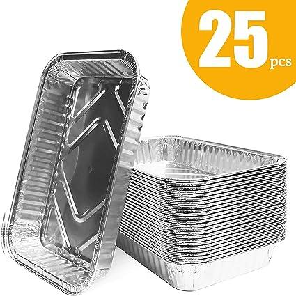 Yinuoday Teglie con Coperchi Vassoi USA E Getta USA E Getta 20 Pezzi Contenitori per Alimenti in Alluminio Contenitori per Cucinare Cottura Arrostire Arrostire Grigliare Picnic Preparare