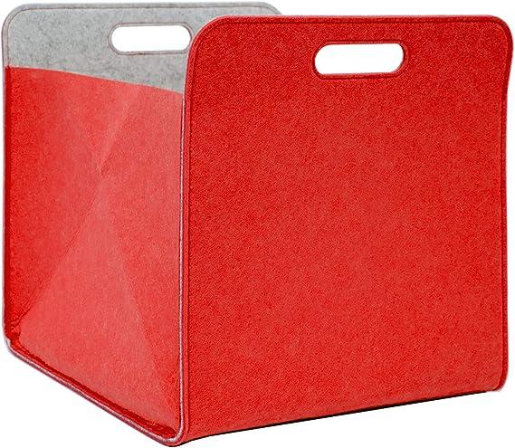 DuneDesign Caja Almacenamiento Fieltro 33x33x38cm Cesta Fieltro Caja Kallax Inserción en estanterías Rojo
