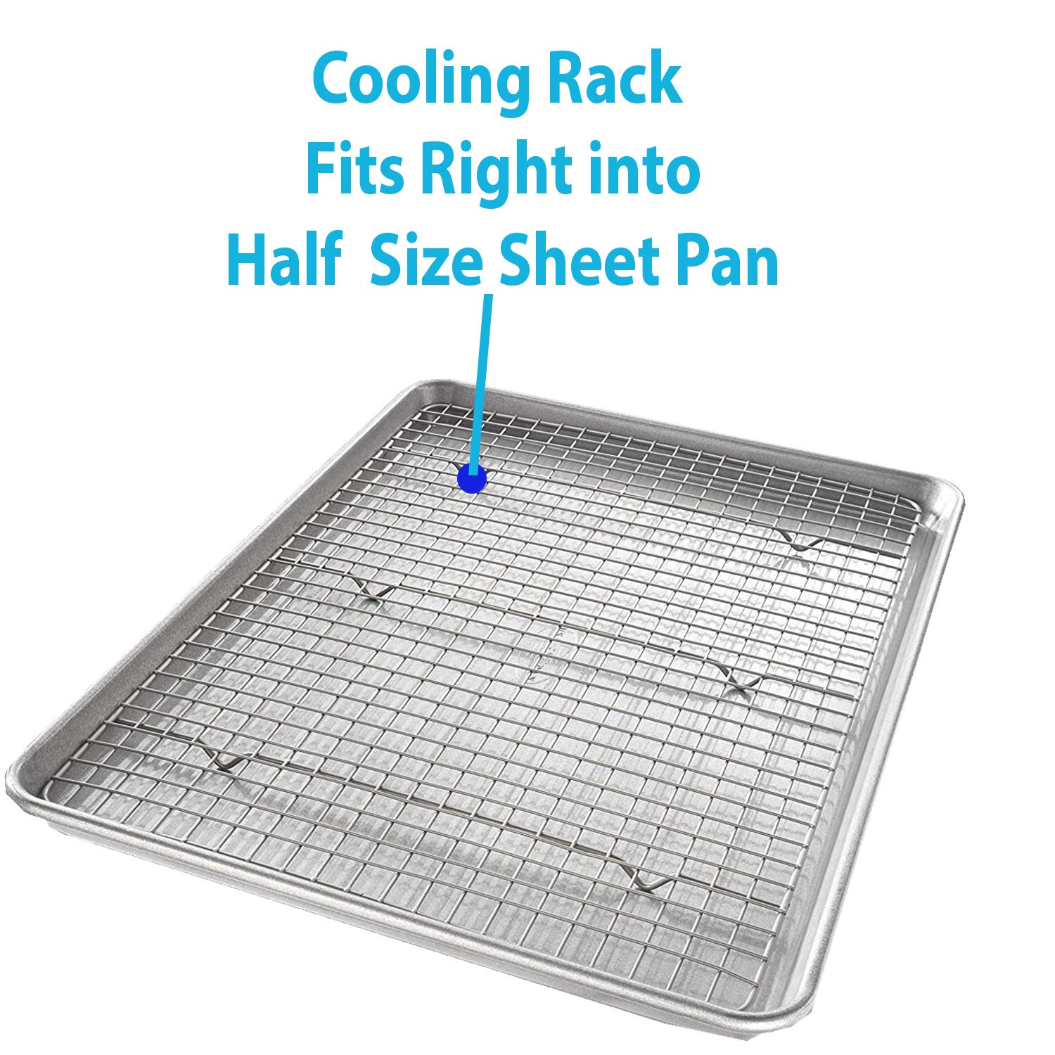 Bakeware Set - 2 Aluminum Sheet Pan, 2 Bakeable Cooling Rack (Stainless Steel) -All Half Size - for Commercial or Home Use. Non Toxic, Perfect Baking Supply set for gifts by HeroFiber (Image #4)