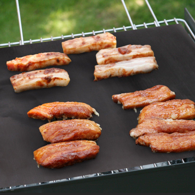 Soled/ì Set di 5 Stuoie Antiaderenti per Grill Barbecue PTFE Carta da Forno Riutilizzabile Approvato FDA
