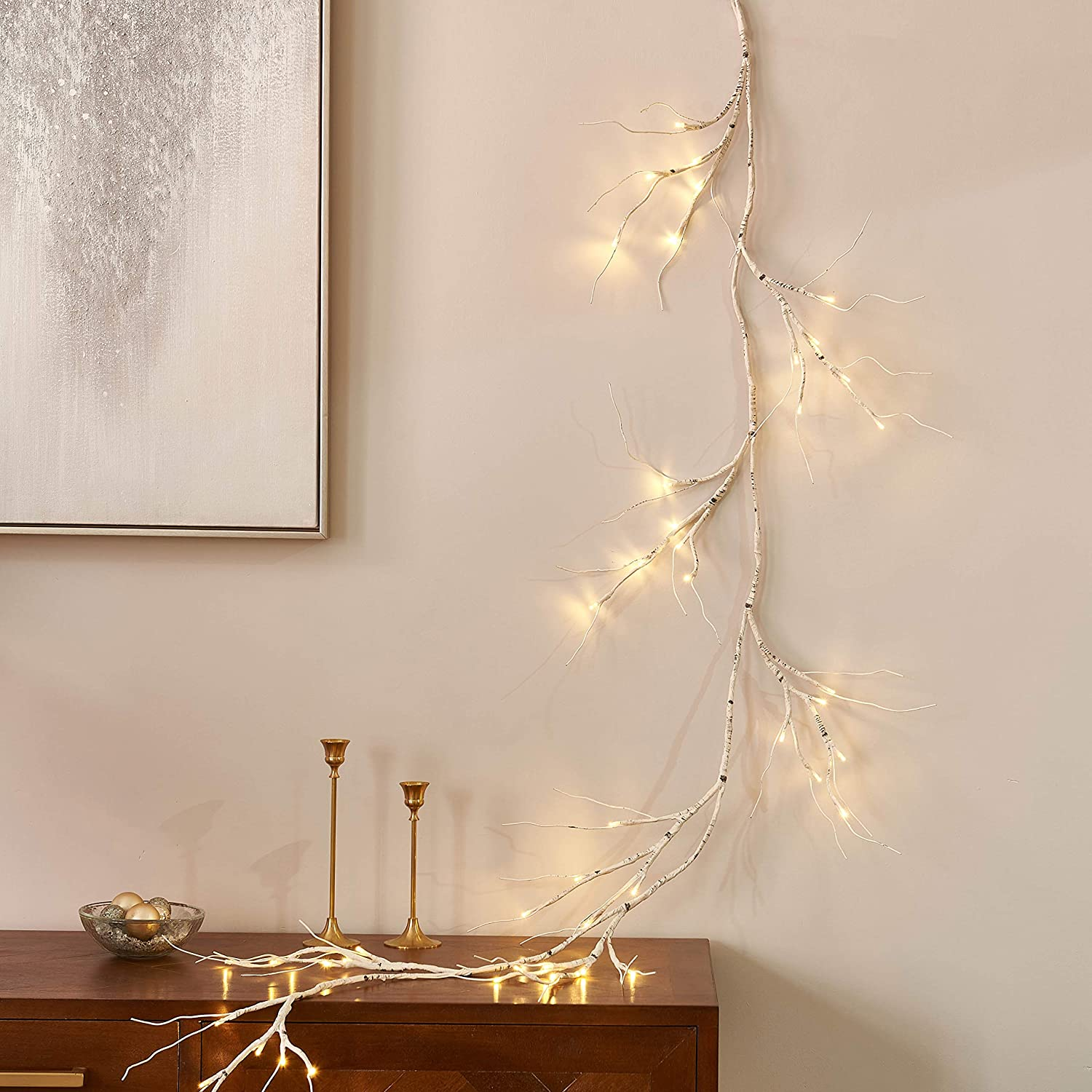 LITBLOOM Lighted Eucalyptus Garland 6FT 48 LED Battery Operated with Timer Artificial Greenery Twig Vine Lights for Wedding Party Christmas Holiday Decoration