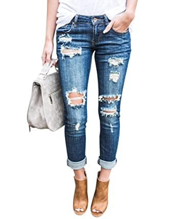 Ermonn Women Distressed Denim Jeans Skinny Stretch Roll Up Ripped