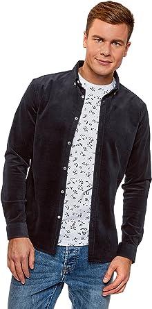 oodji Ultra Hombre Camisa Slim de Terciopelo: Amazon.es: Ropa y accesorios