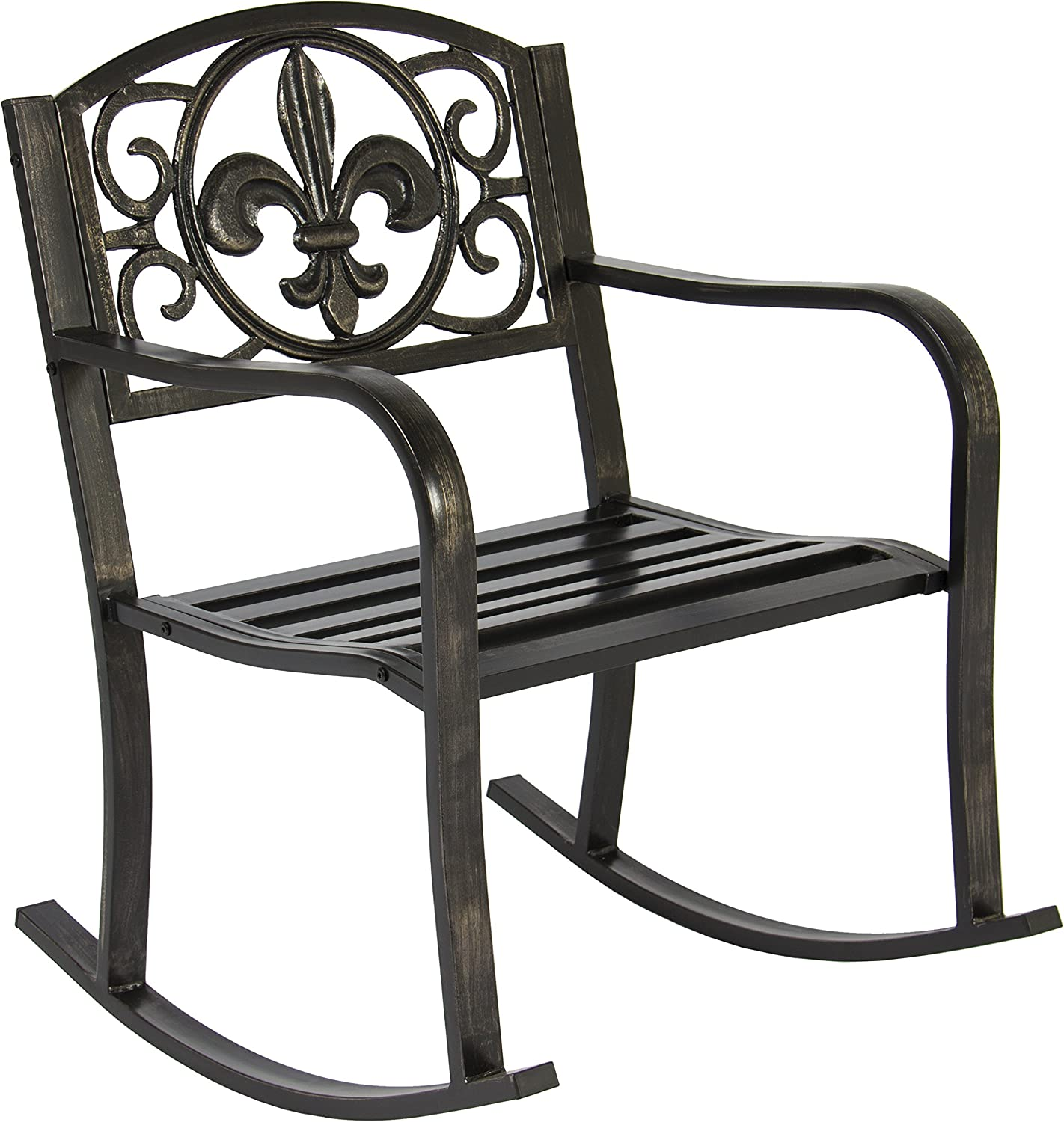Best Choice Products Metal Rocking Chair Seat for Patio, Porch, Deck, Outdoor w Scroll Design – Black Bronze