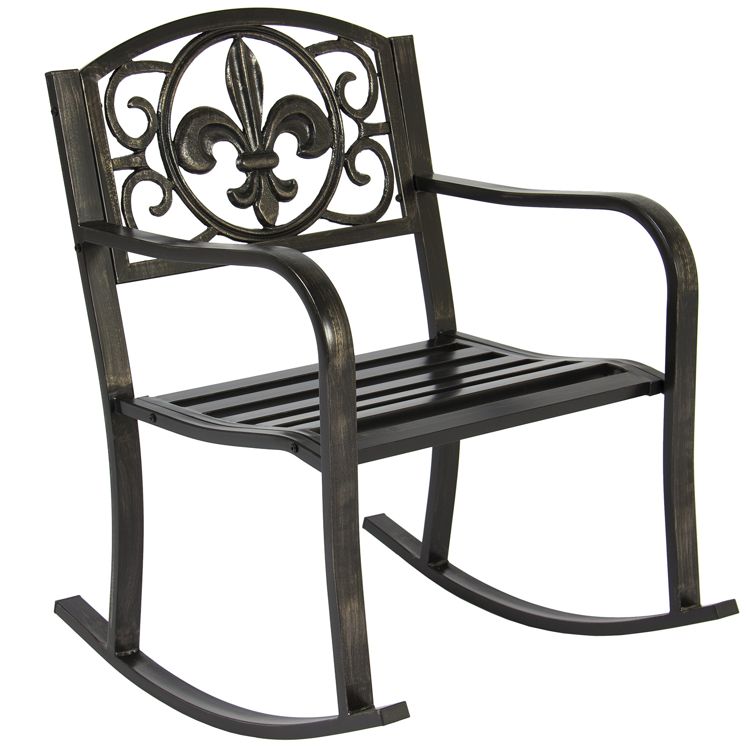 Best Choice Products Metal Rocking Chair Seat for Patio, Porch, Deck, Outdoor w/ Scroll Design - Black/Bronze by Best Choice Products