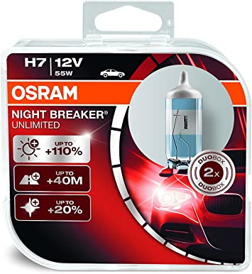 Osram Night Breaker Unlimited H7 Car Headlight Bulbs Twin Pack 64210nbu Hcb Headlight Bulbs Amazon Canada