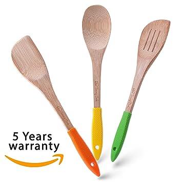 Amazon.com: Wooden Spoons - Bamboo Spoons - Kitchen Utensils ...