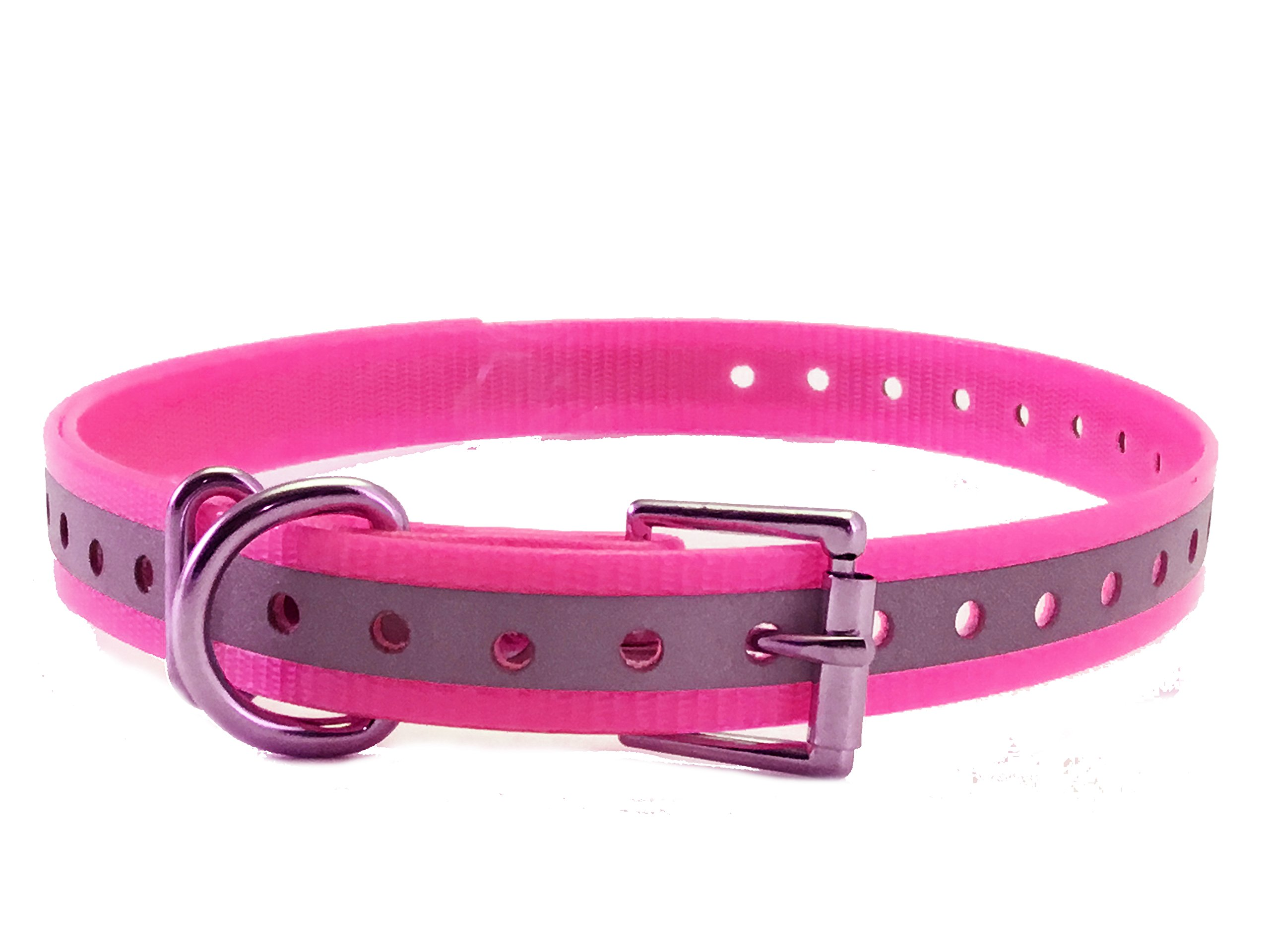 Sparky PetCo 3/4'' High Flex, Neon Pink Reflective Waterproof Replacement Roller Buckle Dog Collar for Garmin Delta, SportDOG, PetSafe, Reflective Pink