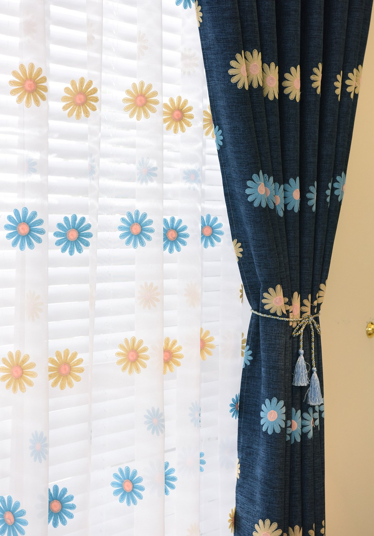 ASide BSide Leisure Style Rod Pocket Top Sunflowers Embroidered Sheer Curtains Transparent Window Decoration For Sitting Room Child Room and Houseroom (1 Panel, W 52 x L 84 inch, White) by ASide BSide (Image #2)