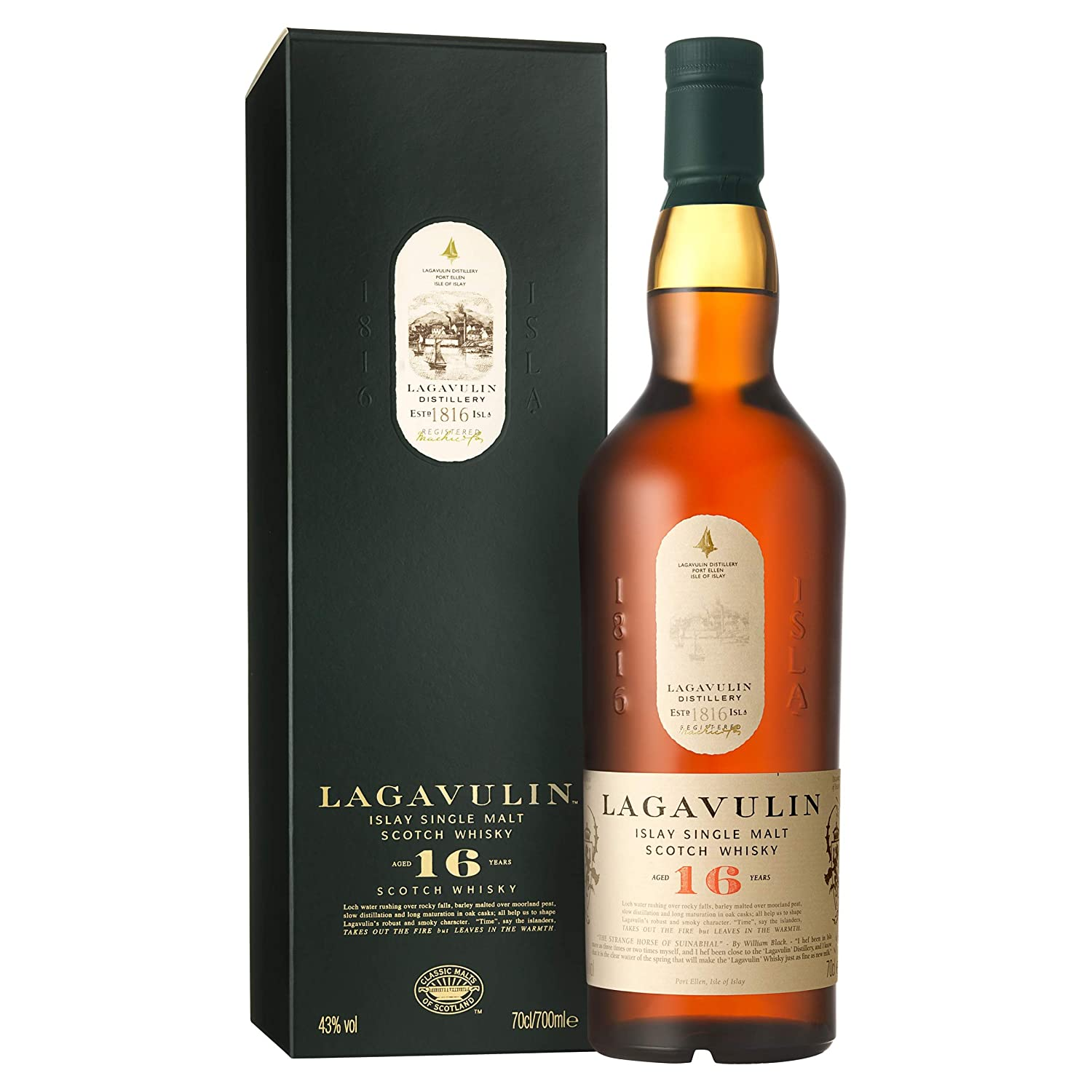 Lagavulin 16 Year Old Scotch Whisky Single Malt - Whisky Scozzese Puro Malto dell'isola di Islay invecchiato 16 anni - 1 x 70 cl