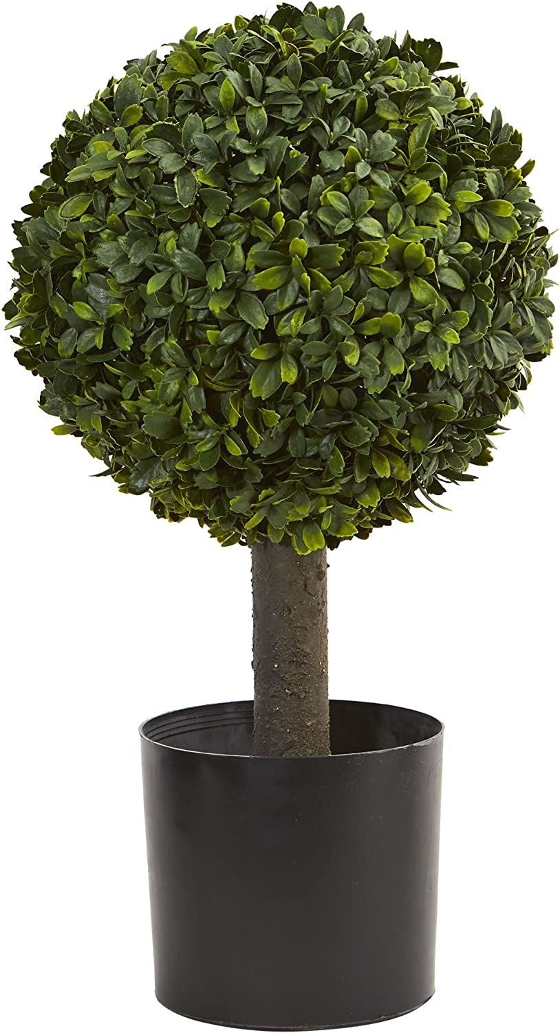 """Nearly Natural 21"""" Boxwood Ball Topiary Artificial Tree, Green"""