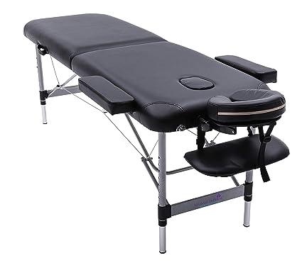 Lettino Da Massaggio Portatile 10 Kg.Lettino Professionale Da Massaggio Knightsbridge Ultraleggero 10 Kg In Alluminio Nero Di Massage Imperial Pieghevole Con Materassino In