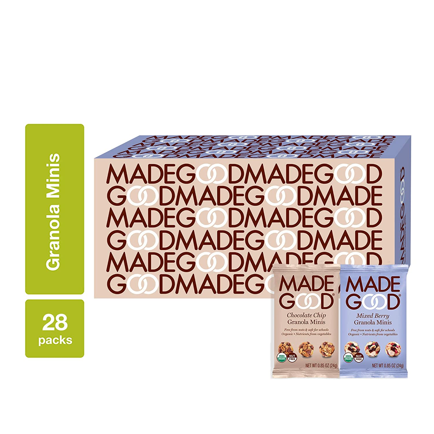 MadeGood Granola Minis 28-Bag Variety Pack, 14 Count Chocolate Chip, 14 Count Mixed Berry - Gluten Free, Vegan, Allergy-Friendly, Organic, Non-GMO Oat Snacks