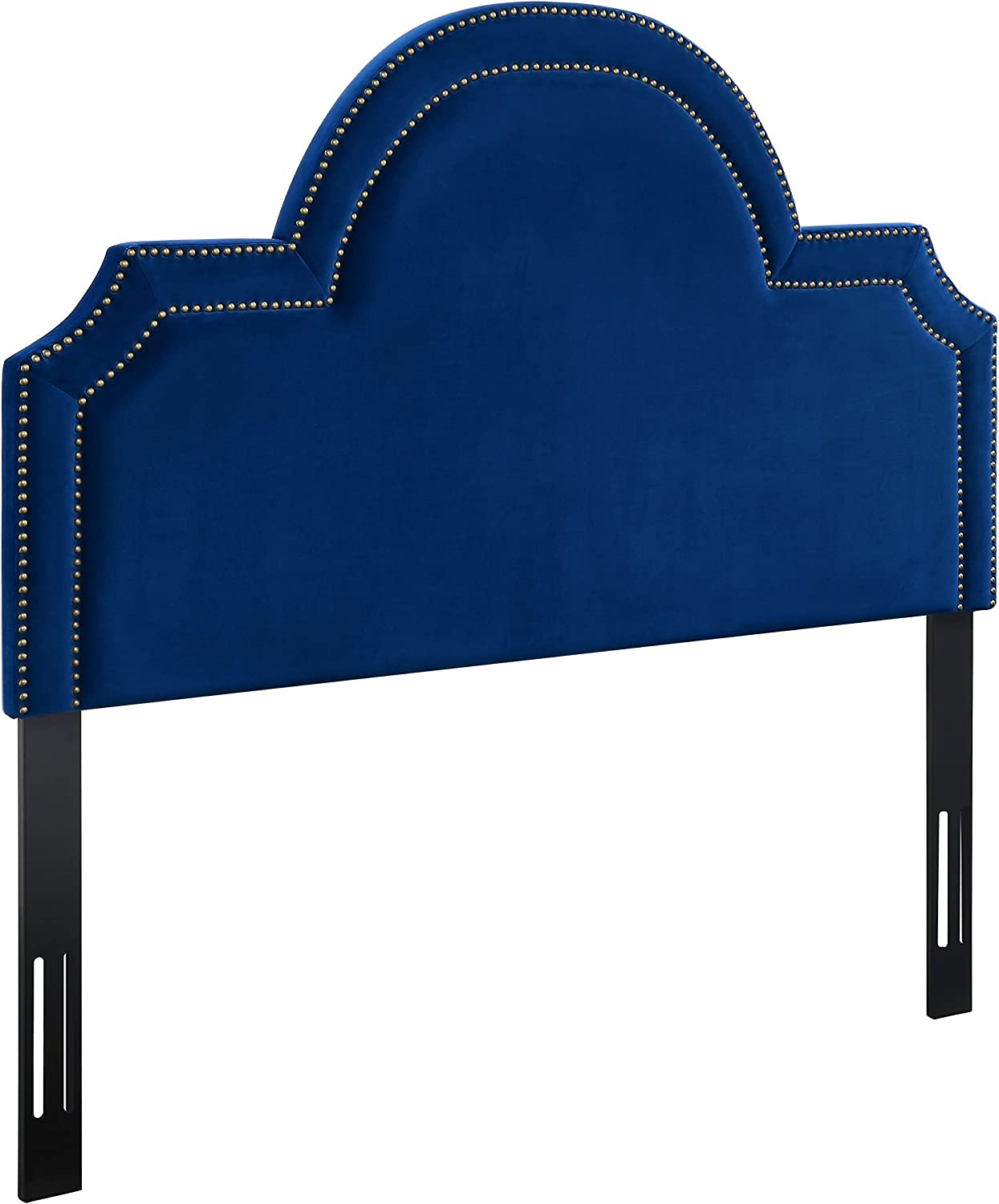TOV Furniture The Laylah Collection Velvet Upholstered Wood Metal Headboard, King Size, Navy Blue