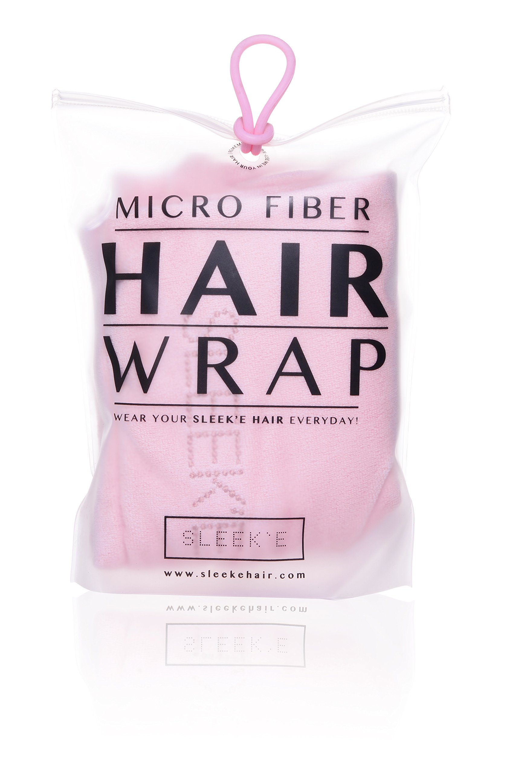 Sleek'e Microfiber Hair Wrap - Ultra Absorbent and Soft, Spa-Quality, Anti-Frizz Turban Twist Hair Towel, Reduces Drying Time for Healthier Hair (Baby Pink)