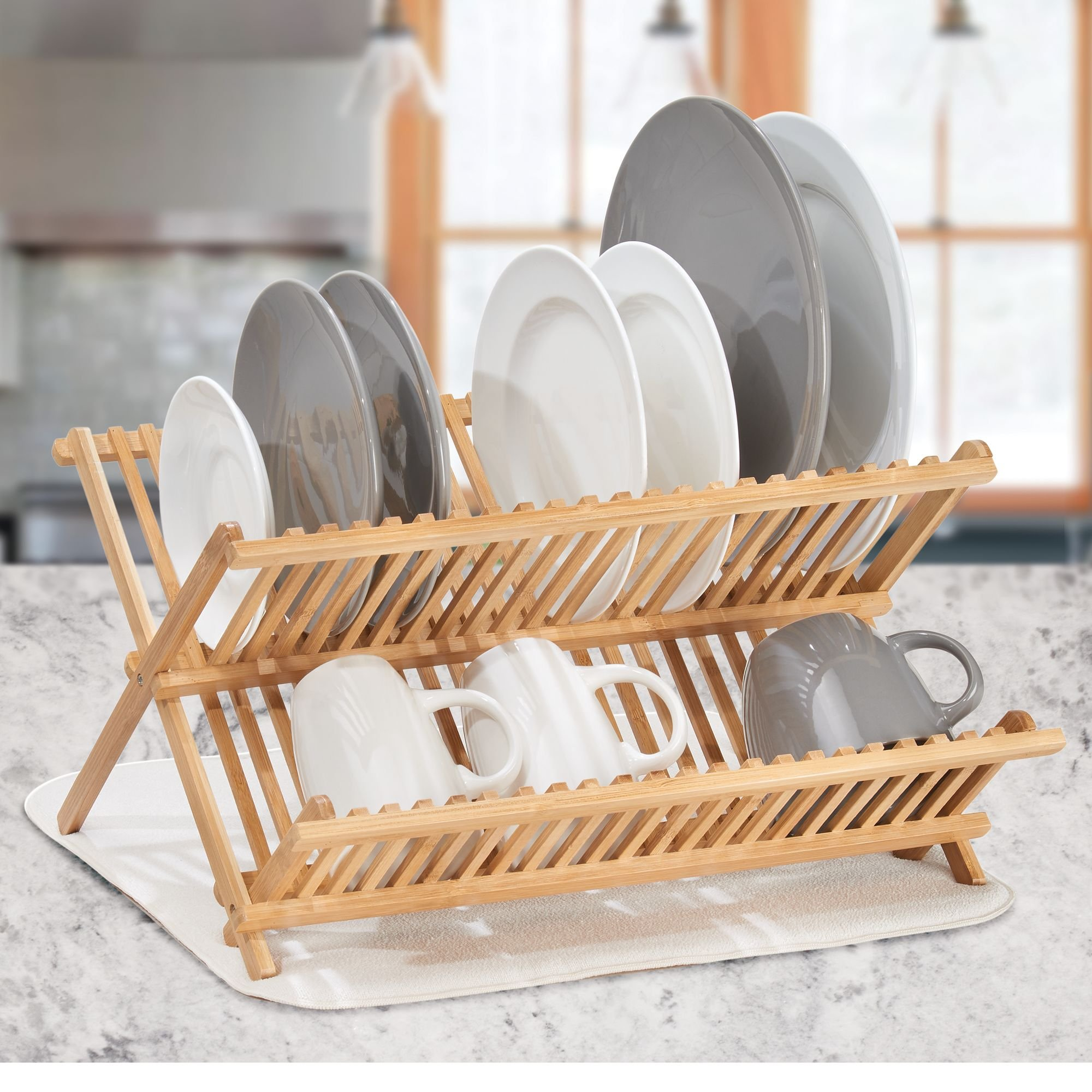 mDesign Bamboo Kitchen Countertop, Sink Dish Drying Rack � Extra Large Capacity, 2 Tiers - Foldable and Collapsible, 100% Bamboo Wood, Natural Light Wood by mDesign (Image #2)