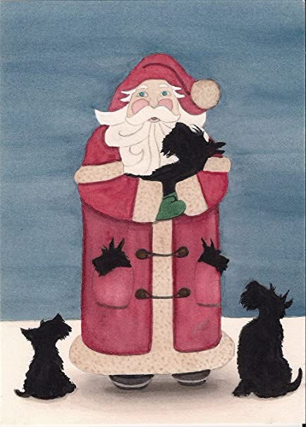 Amazon 12 christmas cards scottish terriers scotties 12 christmas cards scottish terriers scotties surround santa lynch folk art m4hsunfo
