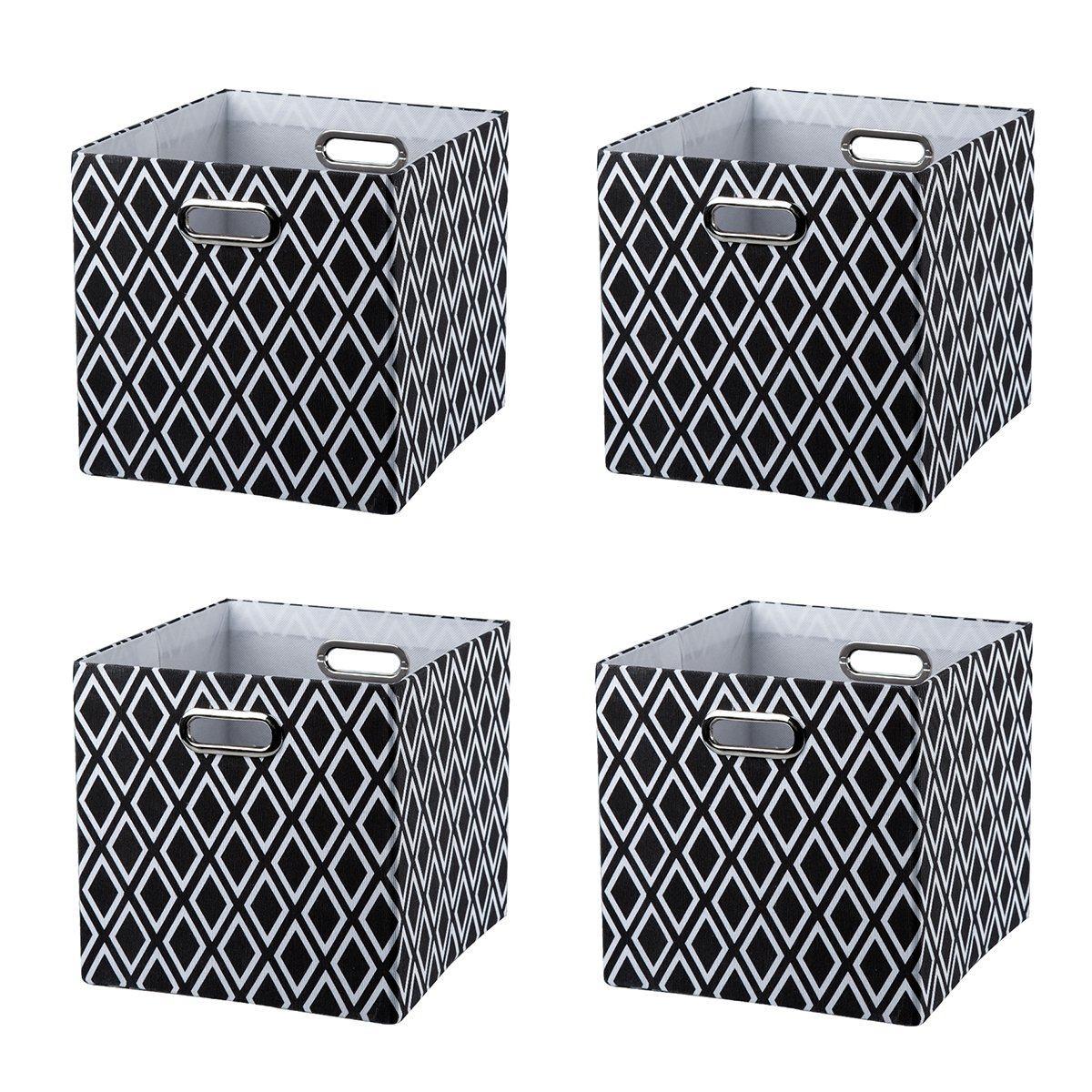 BAIST Canvas Storage Cubes,Pretty Black and White Square Collapsible Bed Storage Bins for Kids Toys Books, Set of 4 by BAIST