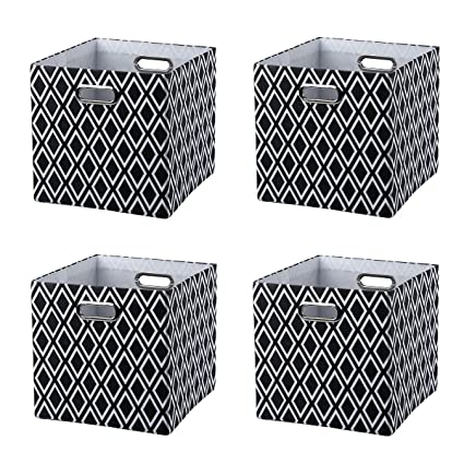 Superieur Baist Canvas Storage Cubes,pretty Black And White Square Collapsible Bed  Storage Bins For Kids